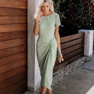 Vici simple elegance sage green dress